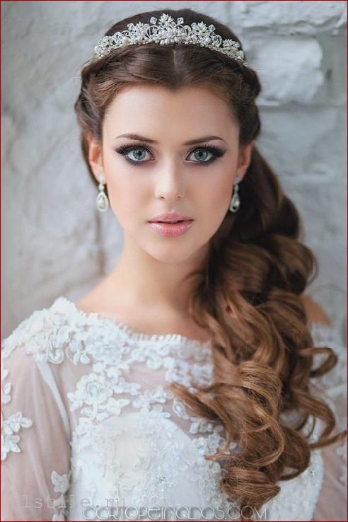 Peinados para novia cabello largo suelto
